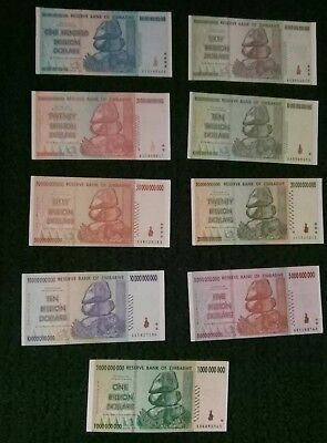 1 Billion to 100 Trillion Zimbabwe Dollars Set of 9 Rare 2008 UNC Bank Notes