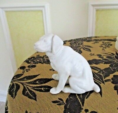 Antique Old Collectable Bisque White Porcelain Pottery Dog Statue Figurine 1800s