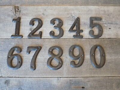 Cast Iron Metal House Numbers Street Address # FULL SET 0 to 9 Rustic BROWN