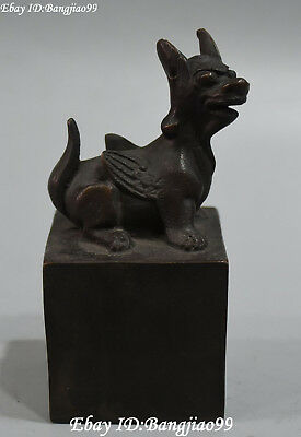 Old Chinese Bronze Ancient Dog Beast Dynasty Imperial Seal Stamp Signet Statue
