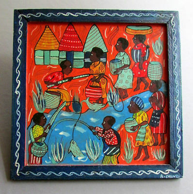 Vintage BRIGHTON CHONZI African Folk Art PAINTING River Scene FISHING
