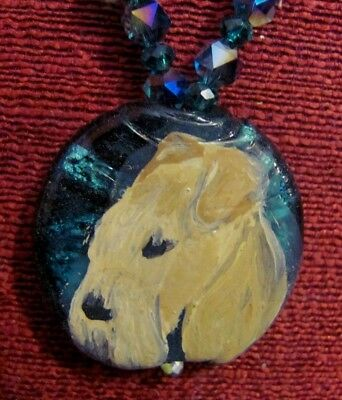 Lakeland Terrier hand painted on round, glass pendant/bead/necklace
