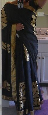 New Designer Bollywood Saree Black Saree with Gold Embroidery Large