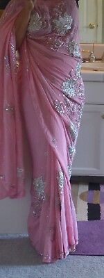 Designer Bollywood Baby Pink Saree With Sequin and Stone Work