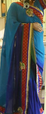 Designer PartyWear Peacock Double Shaded Blue Saree