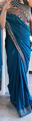 Gorgeous Bollywood Designer Blue Embroidered Saree with Blouse