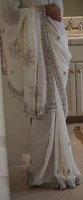 Indian Designer Ethnic PartyWear White SIlver Sequin Embroidery Saree