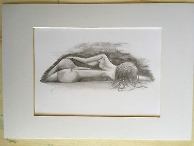 Pencil drawing of a naked woman's back, A4 size, mounted on card.