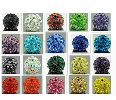 8-12mm Quality Czech Crystal Rhinestones Pave Clay Round Disco Ball Spacer Beads