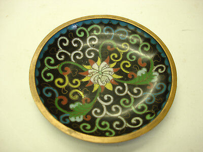 Cloisonne Chinese gorgeous antique Small Round Dish Saucer Nice One chip  #2