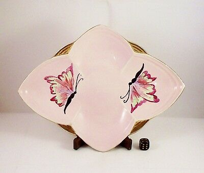 Vintage Scottish Lady Artist Art Deco Style Hand Painted Dish Signed TR 1953