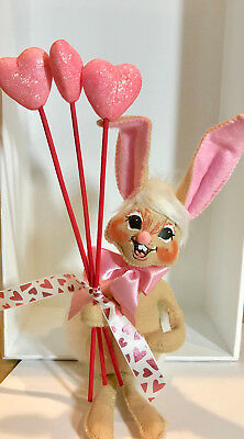 """New Annalee 6"""" Mobilitee Doll Tan Bunny Tails Valentines Day Hearts"""