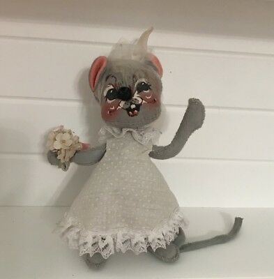 Vintage 1970 Annalee  Bride Mouse Valentines Day Gift