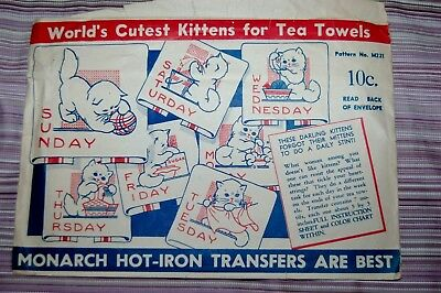 Vintage hot-iron transfers for towels