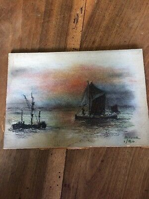Fine Charcoal Nautical Scene Pastel On Board by Bruce