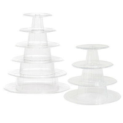 Clear Macaron Cake Stand Plastic Cupcake Wedding Party Display Dessert Stand