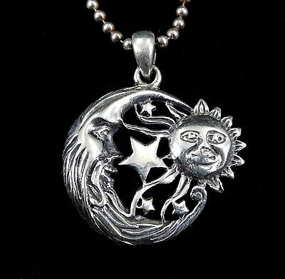 Handcrafted Solid 925 Sterling Silver SUN Crescent MOON & 5-Point STARS Pendant