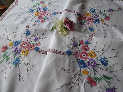 Vintage Hand Embroidered  Linen Tablecloth=Beautiful Vibrant Flowers And Catkins