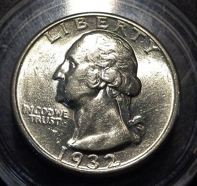 Very Lustrous Slider Brilliant uncirculated 1932 Washington silver 25C quarter