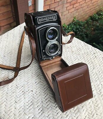 Vintage Rolleicord TLR Film Camera w/Xenar 75mm f3.5, Orig. Leather Case/Germany