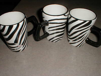 3 ZEBRA MUGS Cups Roscher & Co.Collection Original tag on them ...