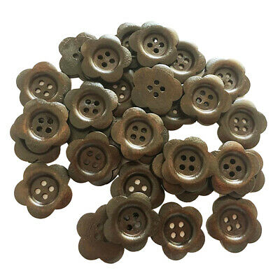 30 Per Pack Wooden 4 Hole Buttons Assorted