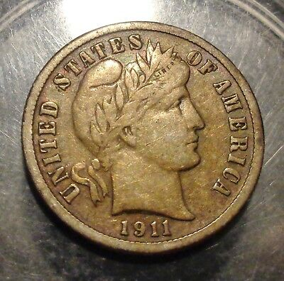 Nicely toned VF to Very Fine+ 1911 D Barber/Liberty silver 10C dime coin