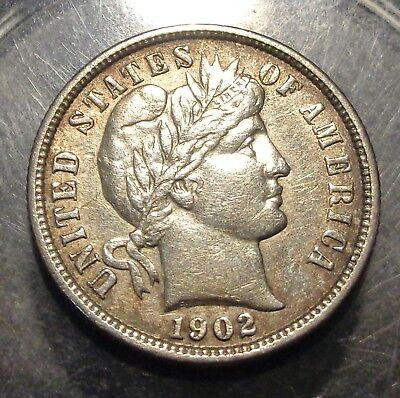 Very nice Almost uncirculated AU 1902 Barber/Liberty silver 10C dime coin