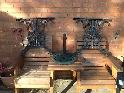 VINTAGE PAIR OF CAST IRON TABLE ENDS And PEDESTAL BASE VERY HEAVY