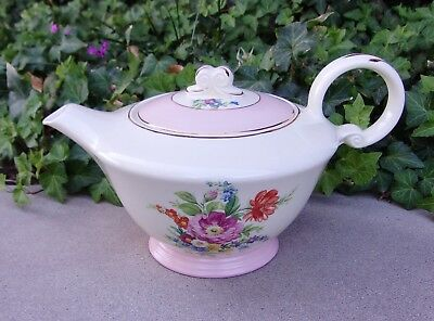 Edwin M. Knowles Ivory Teapot Spring Flowers Pink Foot & Lid No Crazing