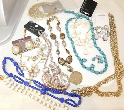 Jewelry Lot  Necklace Pendant Green Blue Coral Beads Earrings Harvest 6/81/11