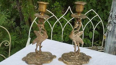 A Pair of English Antique Solid Brass Victorian Candlesticks Storks Circa 1880