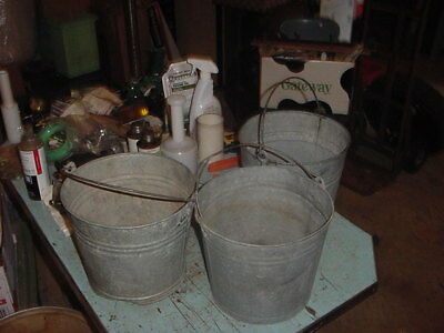3 VINTAGE GALVANIZED PAILS BUCKET 70s 80s GARDEN DECOR 2 GAL. ?? LOT B