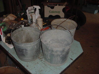 3 VINTAGE GALVANIZED PAILS BUCKET 70s 80s GARDEN DECOR 2 GAL. ?? LOT C