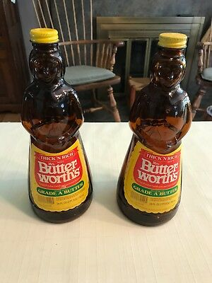Lot of 2 Vintage Mrs. Buttersworth Brown Glass Syrup Bottles (Empty)