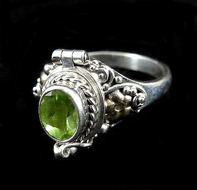 Handmade Solid 925 Sterling Silver Bali Faceted Peridot Poison Pill Box Ring