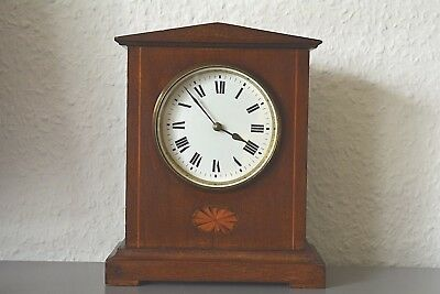 Edwardian inlaid mantle clock. French movement. 8 Day. Working order