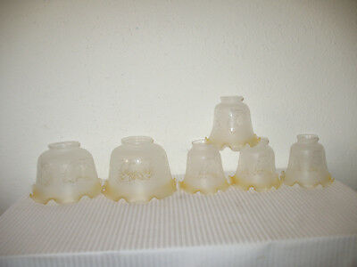 Lamp Shade Vintage Antique Glass Frosted & Clear Ruffled Set of 6 White Gold