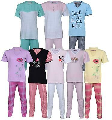 Women Ladies Girls Pyjama Pj Set Lounge / Sleep Wear Night Suit Nightwear Cotton