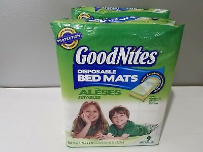 GoodNites Disposable Bed Crib Mats Pads 2 - 9 Count - 18 Total - 2.6 ft x 2.9 ft