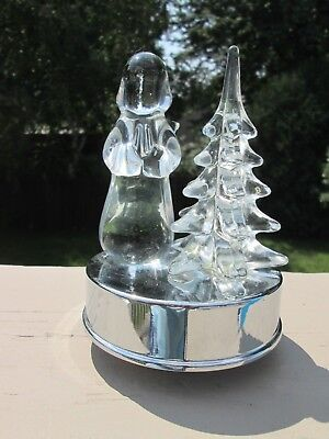 Hard Clear Acrylic Angel Standing Next To Tree, Wind-Up Musical Base, Works