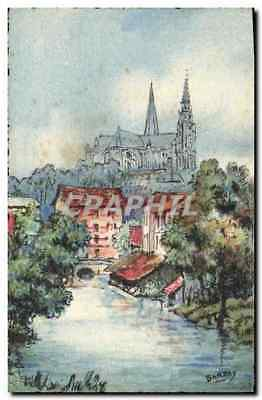 Vintage Postcard Fantasy Illustrator Barday Chartres edges of the Eure