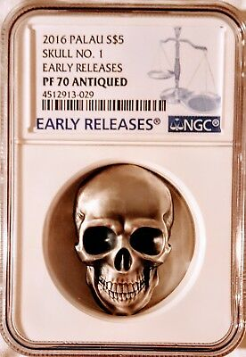 2016 Palau High Relief Antiqued Silver Skull Shaped Coin NGC PF70 Early Releases