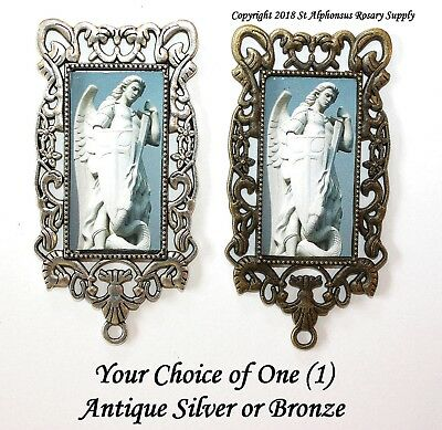 One MEGA Large Rosary Center | St. Michael Archangel |Choice of Silver/ Bronze