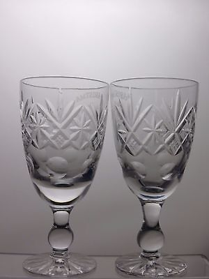 "Large Cut Glass Crystal Wine Glasses Set Of 2 With Etched  Pattern - 6 1/8"" Tall"