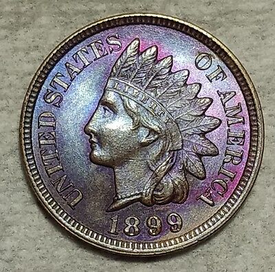Brilliant Uncirculated 1899 Indian Head Cent! Stunningly toned piece!