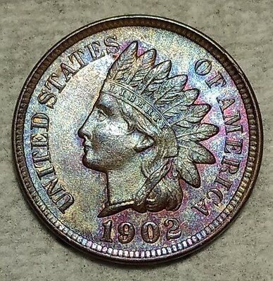 Brilliant Uncirculated 1902 Indian Head Cent! Lovely pastel hued piece!