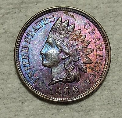 Brilliant Uncirculated 1906 Indian Head Cent! Gorgeously toned piece!