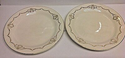 Edwin Knowles Lot of 2 Dinner Plates, Gold Laurel Swags Circa 1941