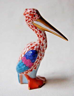 Vieux Herend Red (Rust) Fishnet Pelican 5170 (99) Gold Plated Beak